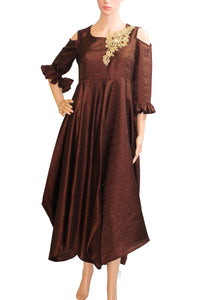 Coffee Color Embroidered Khadi Silk Dress