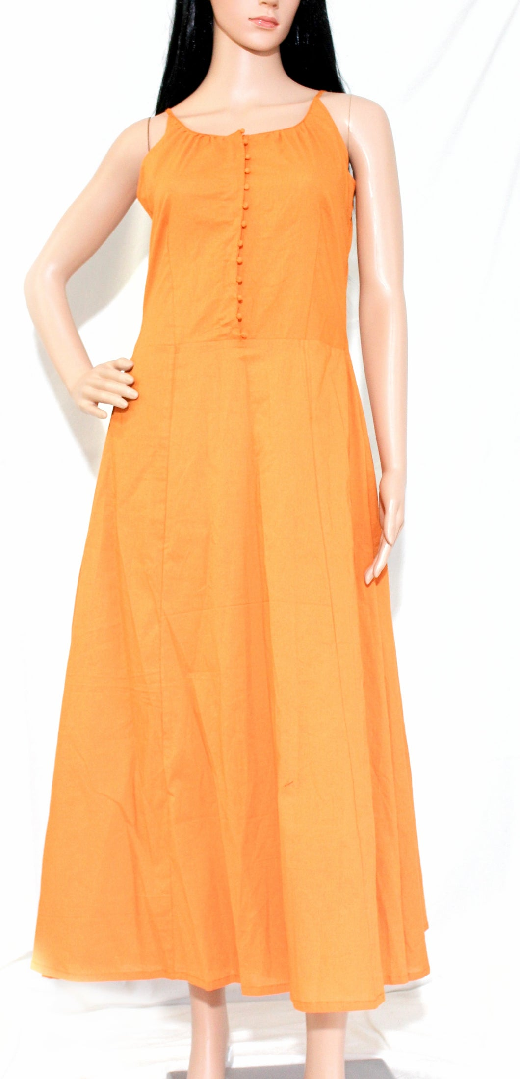 Orange Green Cotton Cambric Dress