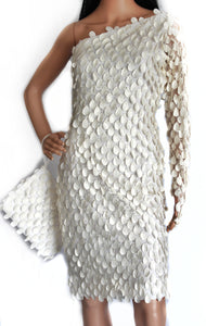 Cream One Shoulder Tunic Adorned with Cut Work Pattern