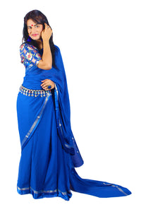 Satin and zari border royal blue chiffon sari