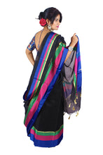 Black silk handwoven sari with Rani colour striped drape and border