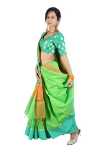 Pastel green silk handwoven sari and a sky blue and orange border