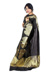 Black and gold motif Banarasi silk sari