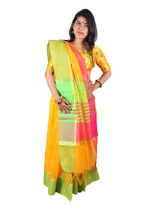 Sunflower yellow silk handwoven sari and a pastel green and hot pink border