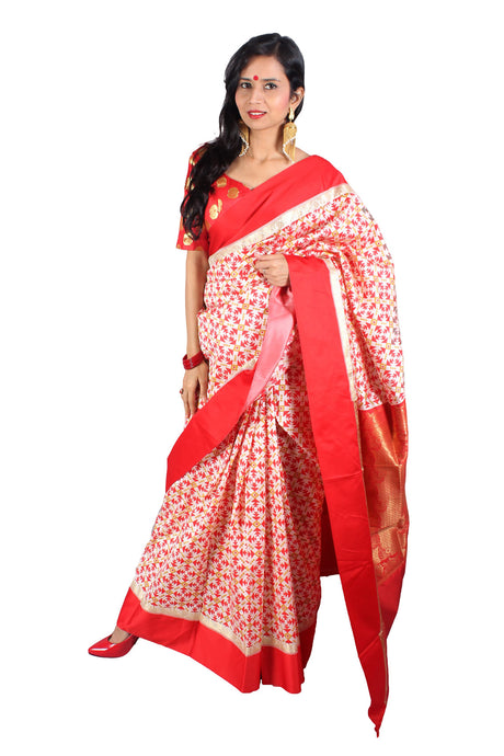 Handwoven red and white printed Zari weaved Banarasi silk sari