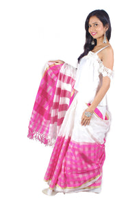Handwoven checkerd pink & white cotton sari