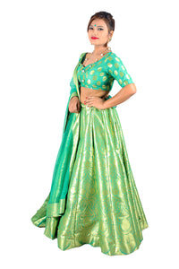 Handwoven Banarasi silk turquoise green brocade multicolored lehenga