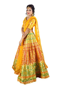 Handwoven Banarasi silk yellow brocade multicolored lehenga