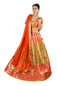 Handwoven Banarasi silk carrot orange brocade multicolored lehenga