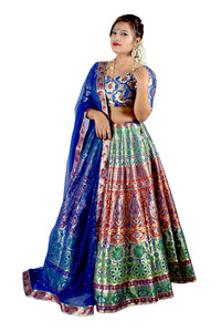 Handwoven Banarasi silk Persian blue brocade multicolored lehenga