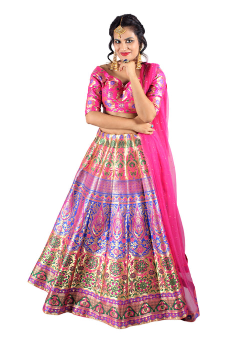 Handwoven Banarasi silk hot pink brocade multicolored lehenga