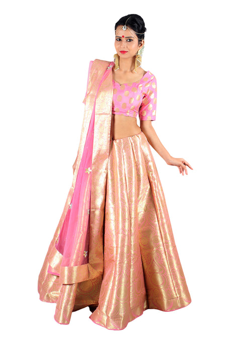 Handwoven Banarasi silk blush pink brocade multicolored lehenga