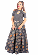 Full flared durga print kalamkari skirt