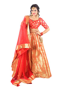 Handwoven Banarasi silk red brocade multicolored lehenga