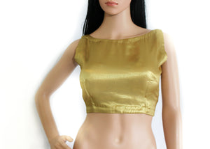 Metallic Gold Blouse In Back Knot Style