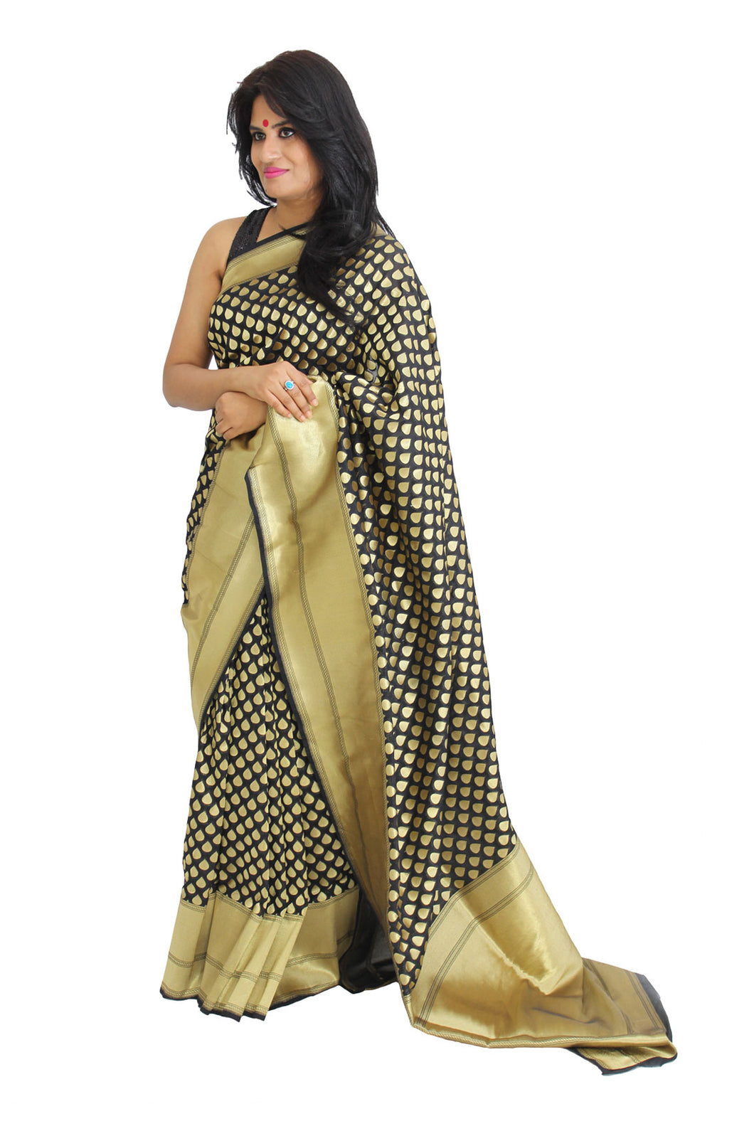 Black Upada silk saree with gold zari motifs and border