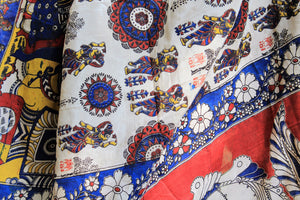 Off-White Multicolored Silk Hand Printed Kalamkari Sare