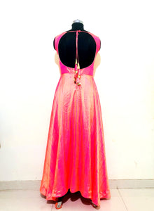 Rose Pink Two Tone Tusser Silk Anarkali Dress