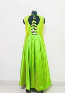 Lime Green Two Tone Tusser Silk Anarkali Dress