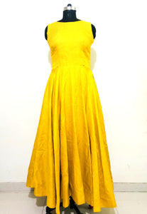 Mustard Yellow Khadi Silk Anarkali Dress