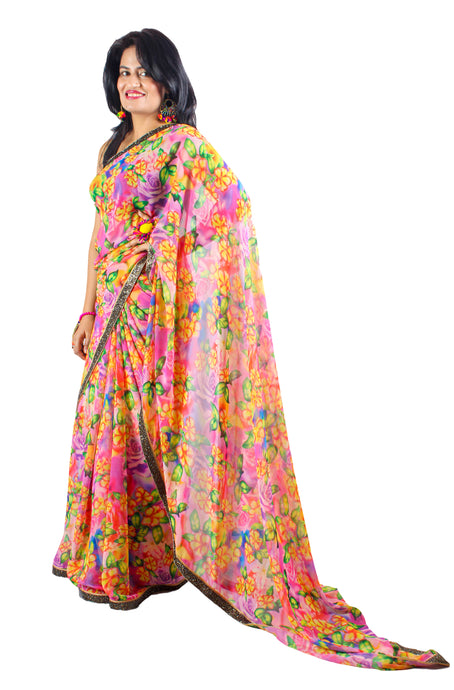 Yellow Pink Digital Floral Georgette Sari