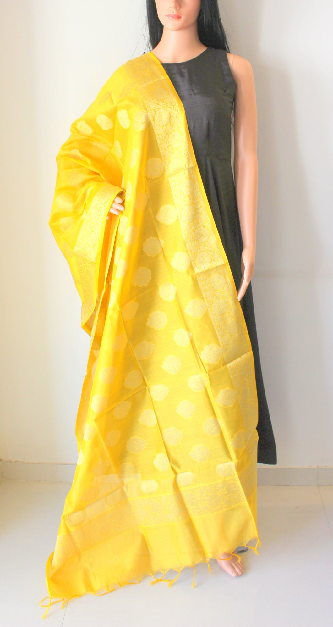 Yellow Banarasi Brocade Handwoven Cotton Silk Dupatta