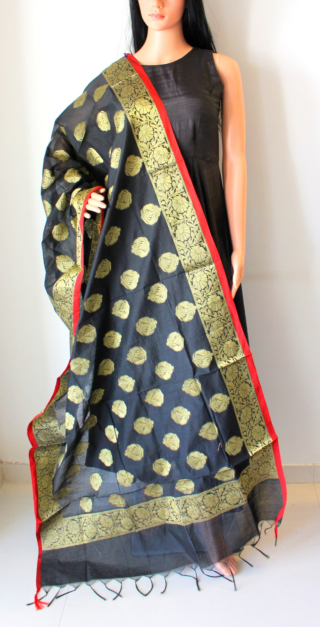 Black Banarasi Brocade Handwoven Cotton Silk Dupatta
