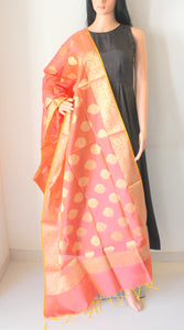 Rose Pink Banarasi Brocade Handwoven Cotton Silk Dupatta