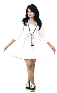White Plain Cotton Short Dress