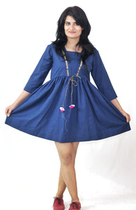 Blue Plain Cotton Short Dress