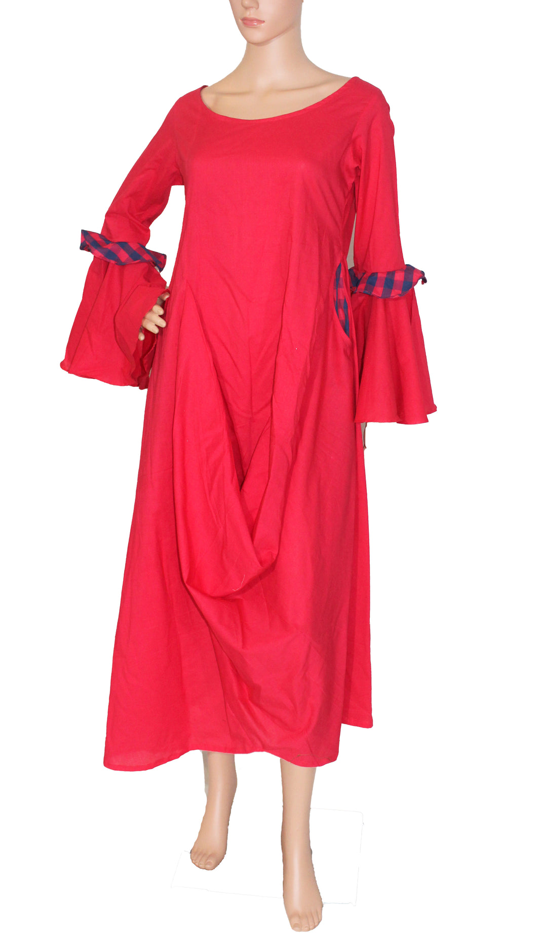 Fuscia Pink Cambric Cowl Dress