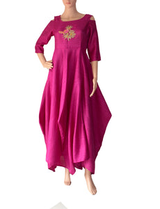 Wine Embroidered Khadi Silk Dress
