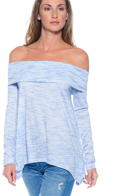 Off The Shoulder Top Long Sleeve Double Layer Top