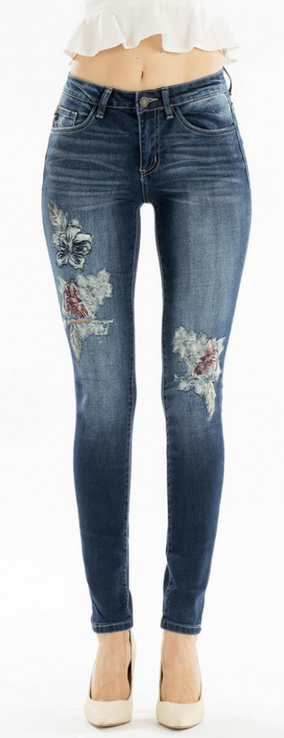 Kancan Floral Distressed Jeans
