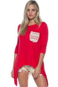 Boho Red Crochet Pocket Long Sleeves Top