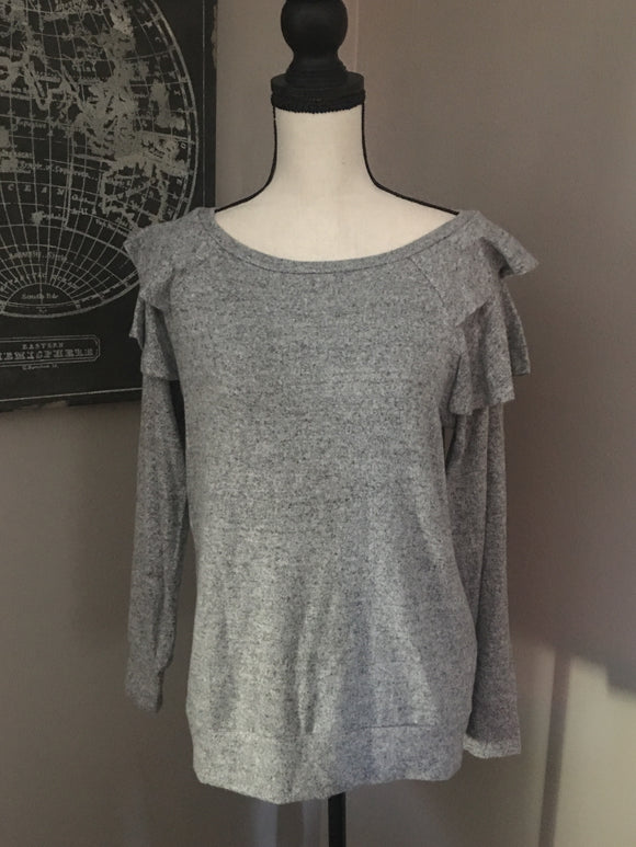 Grey Ruffle Shoulder Sweater