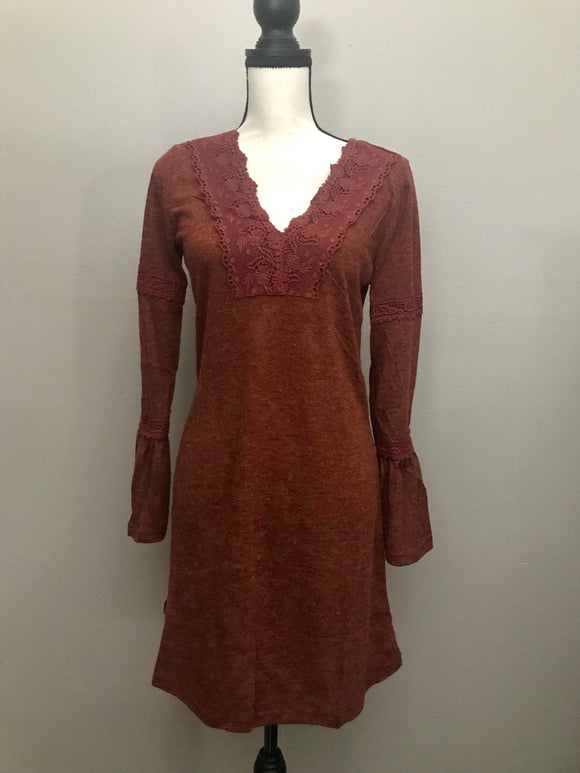 Rust Bell Sleeve Dress