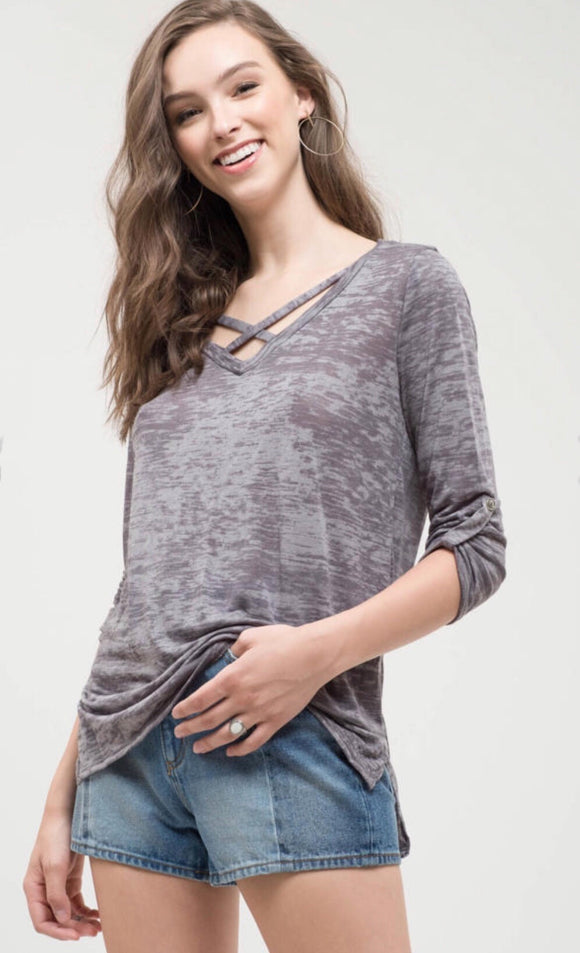 Gray Burnout Top