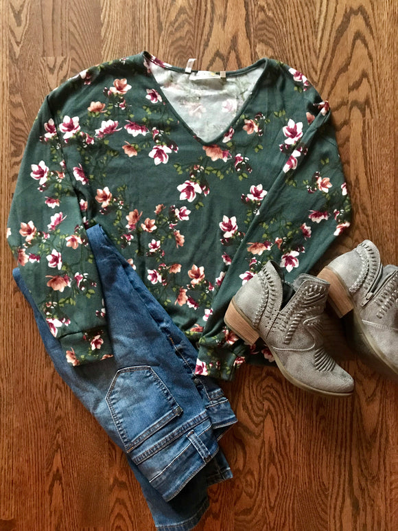 Green Floral Sweatshirt