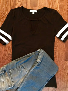 Black Athletic V Neck Tee