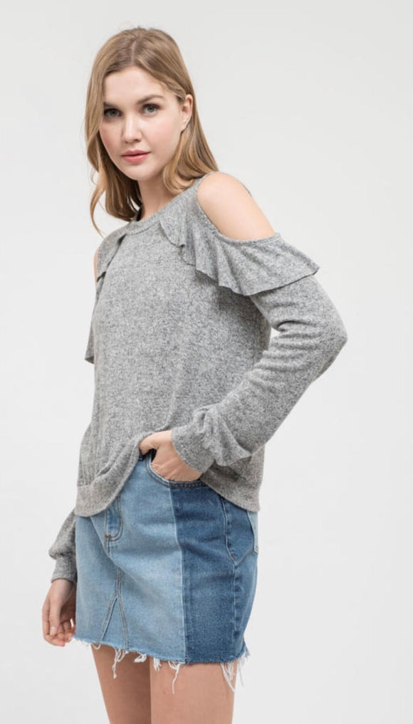 Grey Cold Shoulder Sweater