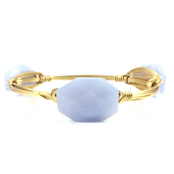 Blue Agate Handmade Wire Wrapped Bangle