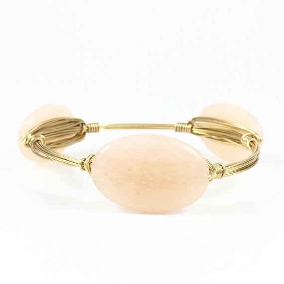 Blush Oval Handmade Wire Wrapped Bangle