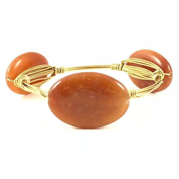 Brown Agate Handmade Wire Wrapped Bangle
