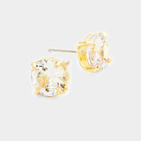 CZ Round Stud Earrings