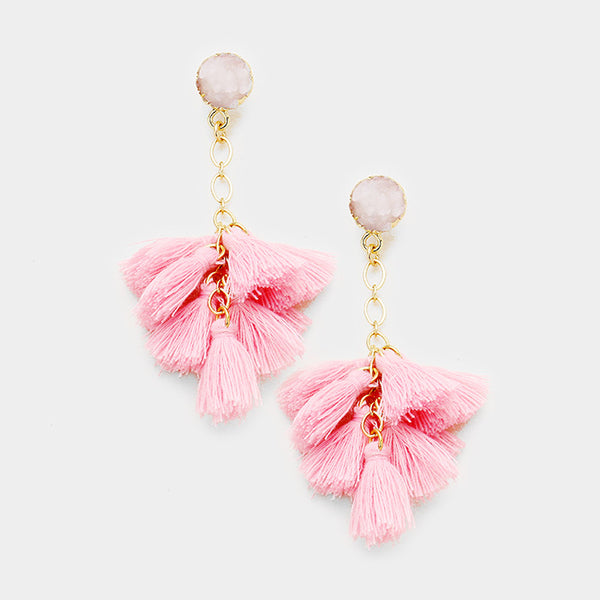 Druzy Cluster Vine Tassel Earrings