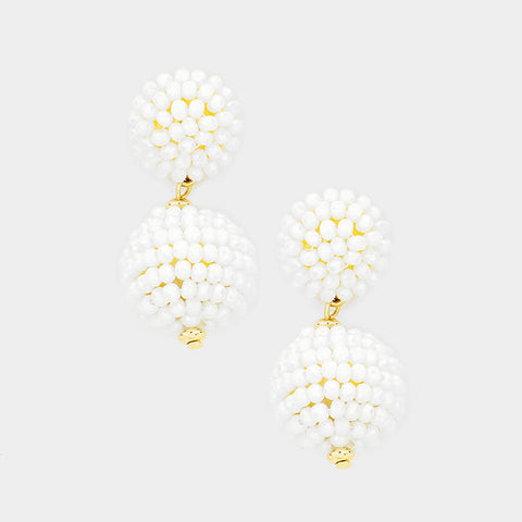 Faceted Beaded Ball Earrings
