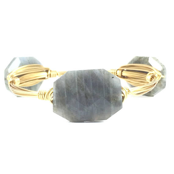 Labrodorite Octagon Handmade Wire Wrapped Bangle