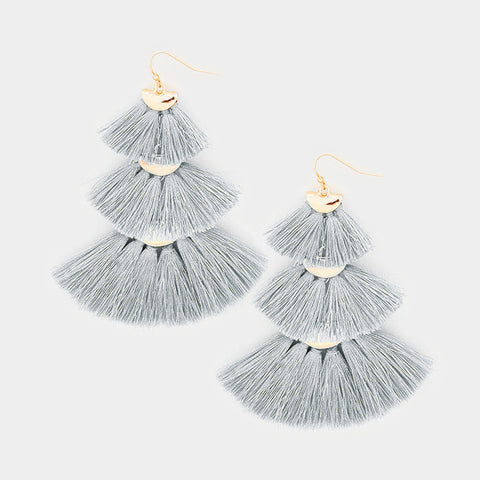Layered Triple Tassel Earrings