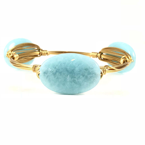 Light Blue Jade Oval Handmade Wire Wrapped Bangle
